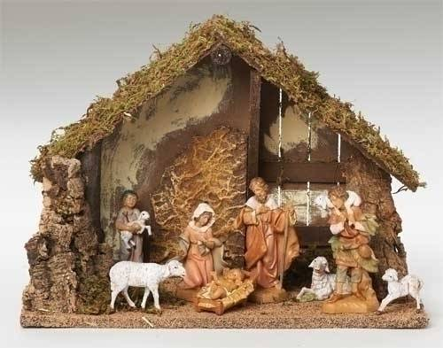 Fontanini 8 Piece Nativity Set with Stable nativity set, indoor set, table top nativity set, colored nativity, christmas gift, woodlook nativity,  wedding gift, home decor, 8 piece nativity,fontanini, 54483