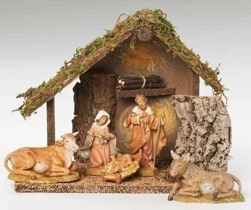 Fontanini 5 Piece Nativity Set with Stable nativity set, indoor set, table top nativity set, colored nativity, christmas gift, woodlook nativity,  wedding gift, home decor, 6 piece nativity,fontanini, 54484