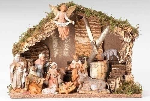 Fontanini 11 Piece Nativity Set with Stable nativity set, indoor set, table top nativity set, colored nativity, christmas gift, woodlook nativity,  wedding gift, home decor, 11 piece nativity,fontanini, 54490