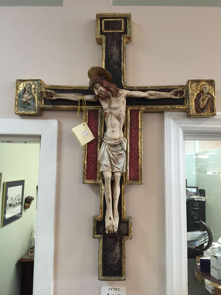 "501 Terra Cotta Cross Hand Painted In Italy;31""X 24"" #501  78 X 60 Cm"
