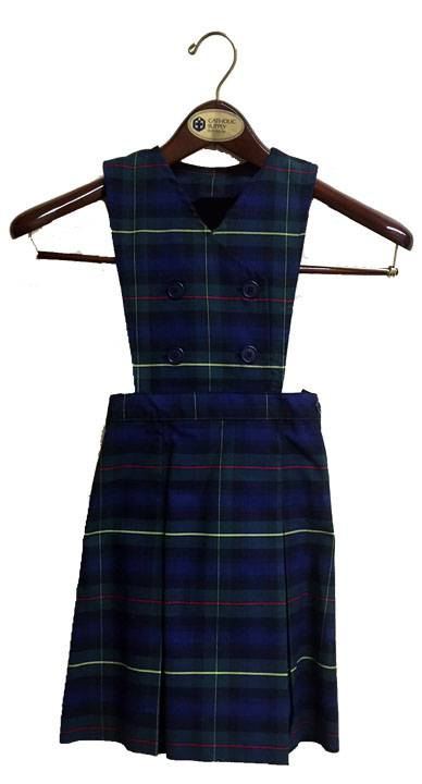#55 Plaid Double Breasted Bib Jumper with Box Pleats *WHILE SUPPLIES LAST* 55 plaid jumper, 18455 plaid jumper, 18455, 18455 jumper, 55 plaid, #55 plaid, drop waist jumper, plaid school uniform jumper, plaid jumper, school uniform jumper, school uniform dress, plaid dress