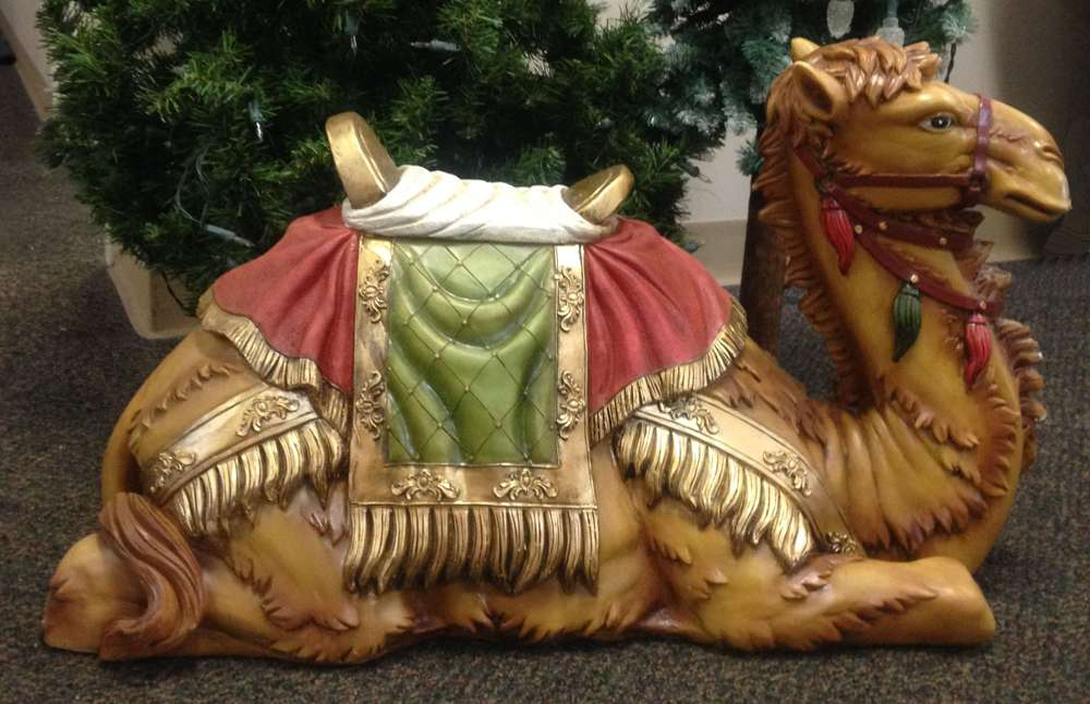 "39"" Scale Colored Seated Camel statuary, camel, nativity set, nativity piece, full color, christmas camel, church nativity, large scale nativity, outdoor nativity, 53420"