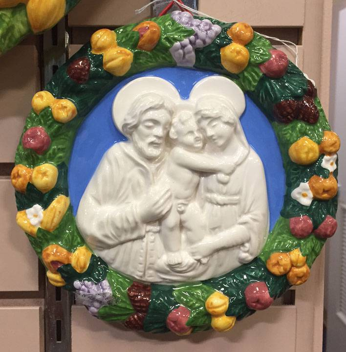 "6.75"" Round Holy Family Della Robbia Wall Hanging *WHILE SUPPLIES LAST*"