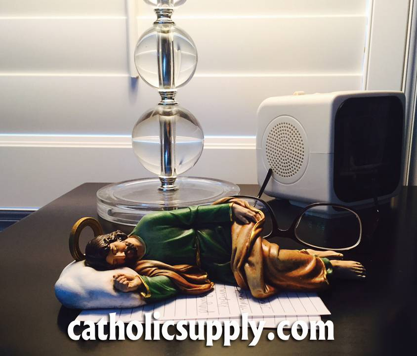 "8"" Sleeping St. Joseph Statue *Available Late June 2017* SSJ, st joseph statue, sleeping st joseph, joseph studio, color statue, home decor, church decor, 66484, nightstand st. joseph, st joseph statue for nightstand, night table st joseph, nightstand prayer statue"