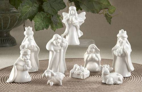 9pc White Porcelain Nativity Set *WHILE SUPPLIES LAST* white porcelain nativity, nativity set, small nativity set, inexpensive nativity set, nativities, sale nativity, sale holy family, cheap nativity, white nativity set, porcelain holy family, porcelain nativity