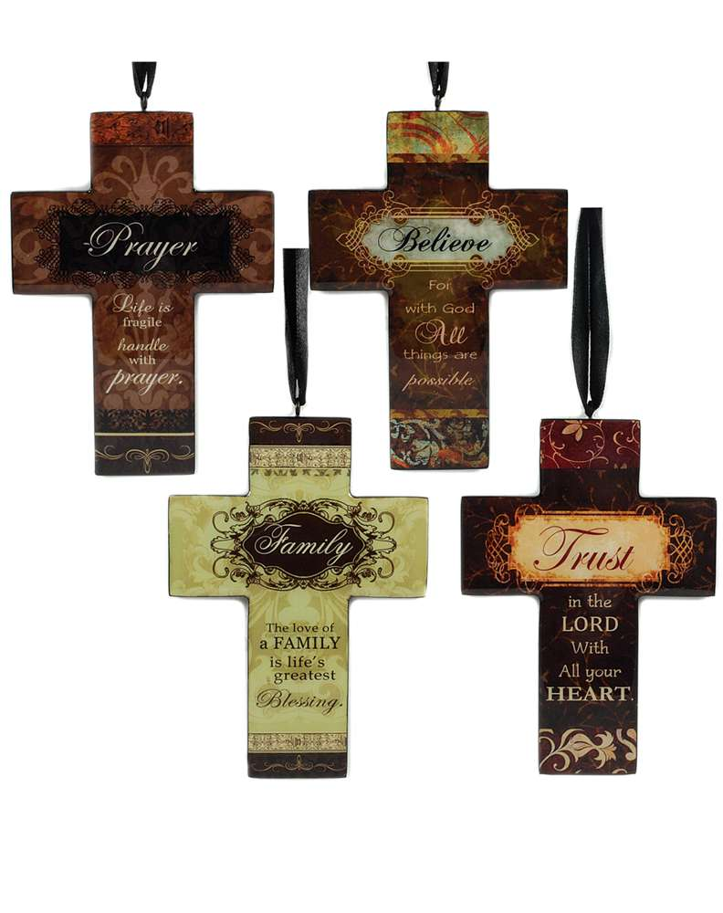 Assorted Cross Ornaments with Messages*While Supplies Last* ceramic ornament, cross ornament, asst cross ornament, christmas ornaments, christmas gifts, message ornaments, message cross, 1388-70271