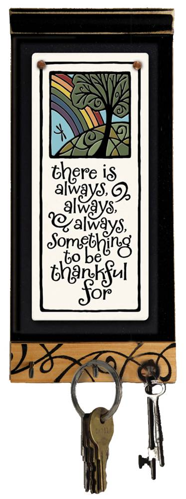 Always Thankful Keyholder key holder, inspirational ceramic plaque, inspirational ceramics, always something to be the thankful for, thanksgiving, religious give thanks