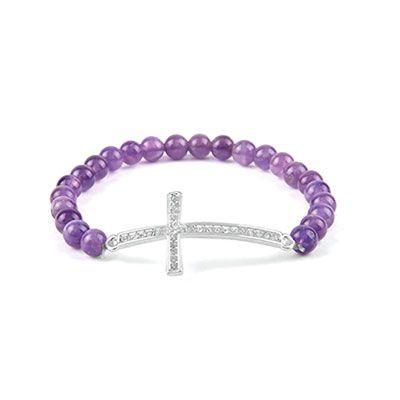 Amethyst Cross Bracelet