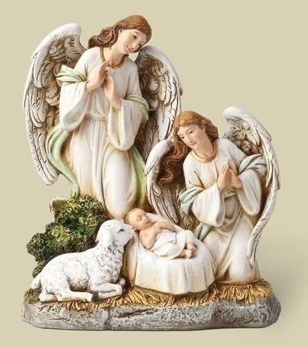 Angels at Nativity Figure angels figure, angels and jesus statue, nativity statue, baby jesus statue, christmas gift, holiday gift, home decor, church decor, 32021
