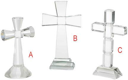 Assorted Glass Standing Crosses*WHILE SUPPLIES LAST** first communion cross, glass cross, table cross, cake topper, special occasion cross, wedding cake topper, table top cross, fancy cross
