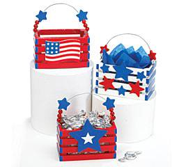 Assorted Patriotic Wood Crates patriotic decor, red, white and blue, america, american flag design, stars and stripes, wood crate, small table basket, 40301