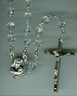 Aurora Borealis Crystal Rosary rosary, aurora borialis, capped, oxidized center, oxidized crucifix, sacramental gift, sacramental rosary, 07534, first communion gift, rosary gift,