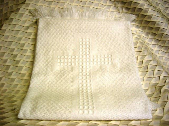 White Woven Baby Blanket with Cross