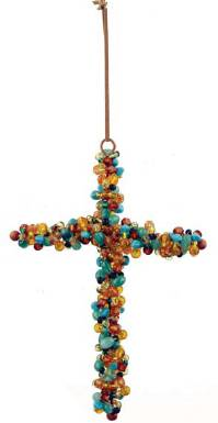 Beaded Turquoise & Amber Cross Ornament wall cross, wall cross no corpus, cross gift, wedding gift, sacramental gift, first communion gift, confirmation gift, RCIA gift, reconciliation gift, beaded cross, turquios and amber cross