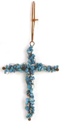 Beaded Turquoise & Rust Cross Ornament wall cross, wall cross no corpus, cross gift, wedding gift, sacramental gift, first communion gift, confirmation gift, RCIA gift, reconciliation gift, beaded cross ornament, beaded cross, turquoise and rust cross, turquoise and rust ornament