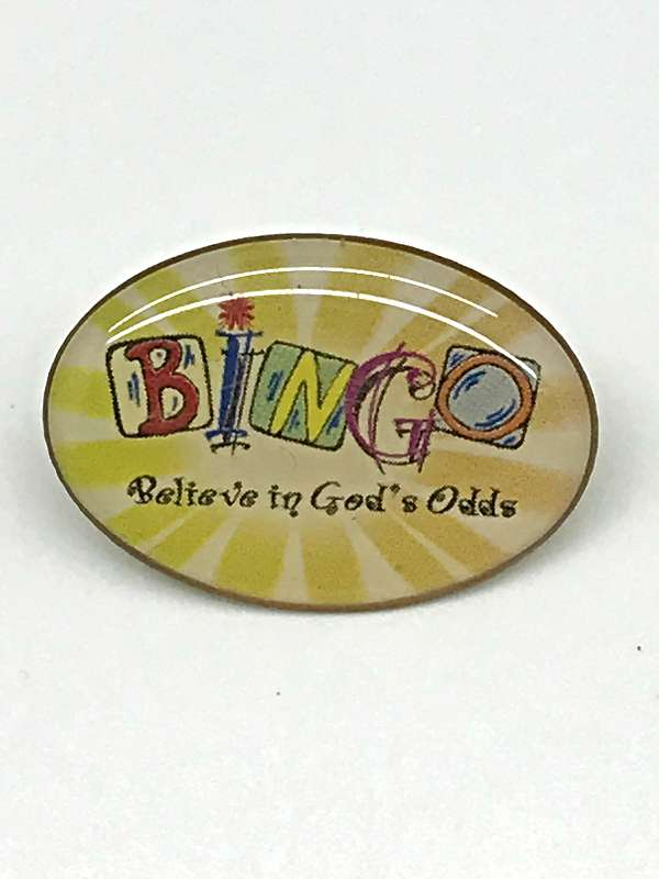 Bingo (Believe In God%27s Odds) Lapel Pin lapel pin, bingo, bingo pin, game pin, group gifts,