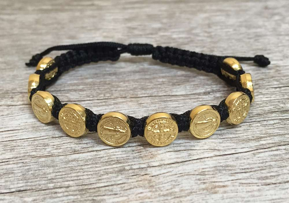 Black/Gold Benedictine Bracelet favors, bracelet, blessing bracelet, medjugorje bracelet, st benedict bracelet, colored bracelet, handmade bracelets, girl gift, boy gift, sacramental gift, healing gift, prayer gift, first communion gift, reconciliation gift, confirmation gift, graduation gift, quantity discounts,