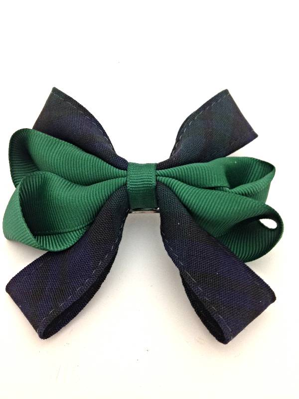 Blackwatch Plaid & Hunter Green Bow