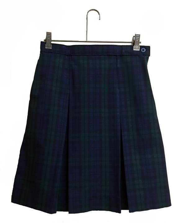 Blackwatch Poly/Cotton Box Pleat Uniform Skirt SJM, PLAID KICK PLEAT SKIRT, PLAID UNIFORM SKIRT, PLAID SKIRT, GIRLS PLAID SKIRT, SCHOOL UNIFORM SKIRT