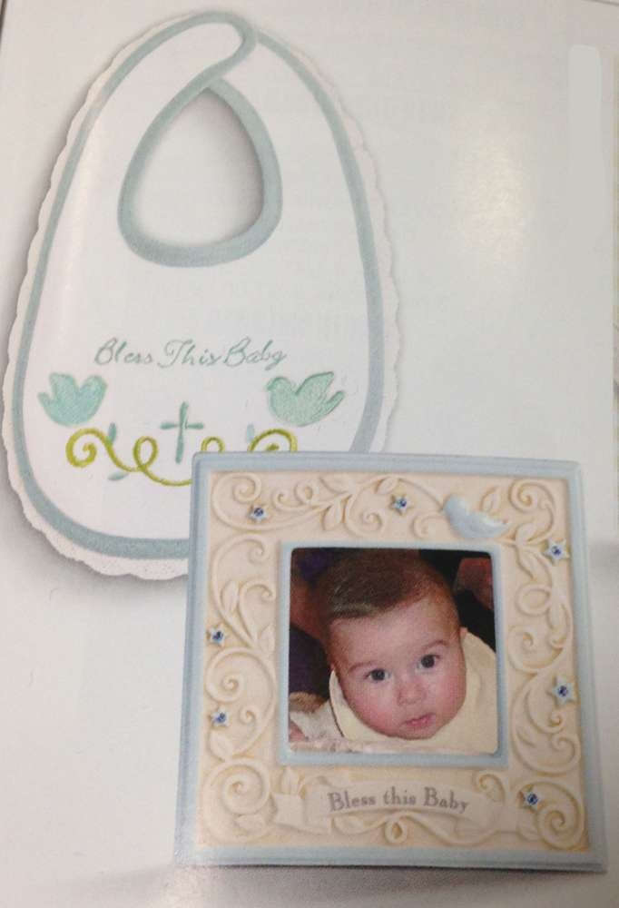Bless This Baby Blue Bib and Frame Gift Set wall cross, boy cross, baptism cross, baptism gift, new baby gift, ceramic frame, blue, boy bib, 469223