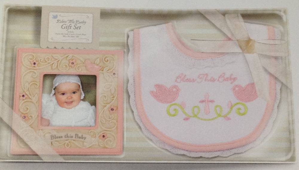 Bless This Baby Pink Bib And Frame Gift Set wall cross, boy cross, baptism cross, baptism gift, new baby gift, ceramic frame, pink, girl bib, 469198