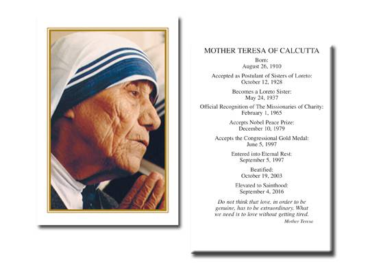 Blessed Mother Teresa Holy Card with Special Dates /Box 100 MT,mother teresa, holy card, prayer card, box cards, mother teresa of calcutta, St. Teresa, HG99/AH068