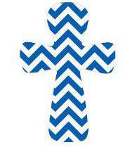 Blue Chevron Stripe Wall Cross wall cross, colorful wall cross, cross, wood wall cross, retro wall cross, girls cross, girl gift, mom gift, mothers day gift, birthday gift, special occasion gift