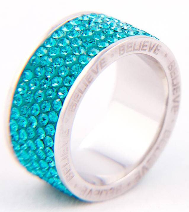 Blue Crystal %27Believe%27 Ring*WHILE SUPPLIES LAST* sterling silver ring, silver ring, trendy ring, blue crystal, message ring, jewelry,04436, 04432, 04434, 044355