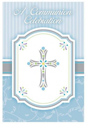 Blue Cross First Communion Invitations 793846,first communion partyware, blue partyware, boy first communion , boy first communion party, first communion party, paper products, blue first communion invitations, blue invitations, boy invitations