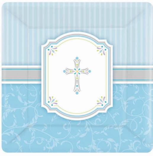Blue Plates 543846,first communion partyware, blue partyware, boy first communion , boy first communion party, first communion party, paper products, blue plates, boy party,  first communion plates