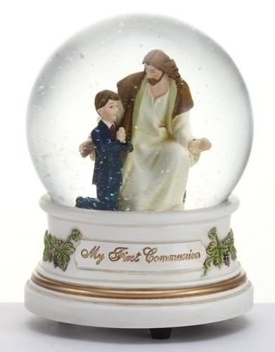 Boy with Jesus First Communion Musical Glitterdome first communion gift, first communion boy, boy and jesus figure, glitterdome, first communion snow globe, boy and jesus figure, 41508