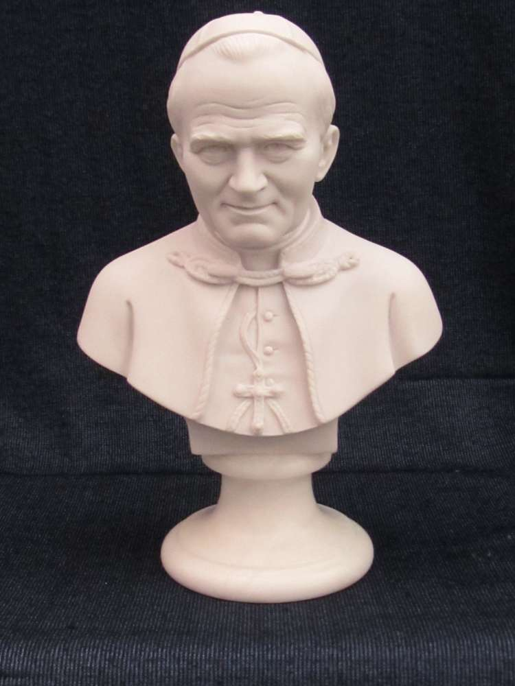 Bust of Pope John Paul II pope john paul II statue, pope statue, alabaster statue, home decor, church decor, papel statue, 00156.22