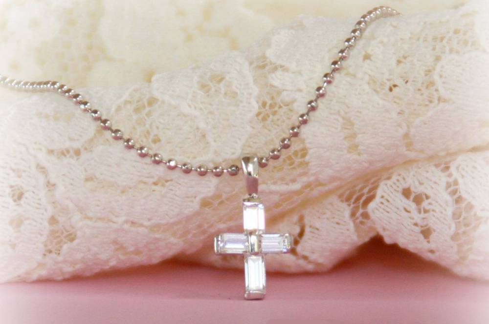 CZ Cross Necklace  cross necklace, cz necklace, sacramental gift, first communion gift, CJ-306