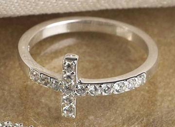 Silver Plated CZ Sideways Cross Ring silver plated, silver plated ring, cross ring, sideways cross ring,  ring, special occasion gift, mothers day gift, sacramental gift, 06041, 06042, 06043, 06044,, CZ ring, purity ring, chastity ring, true love waits