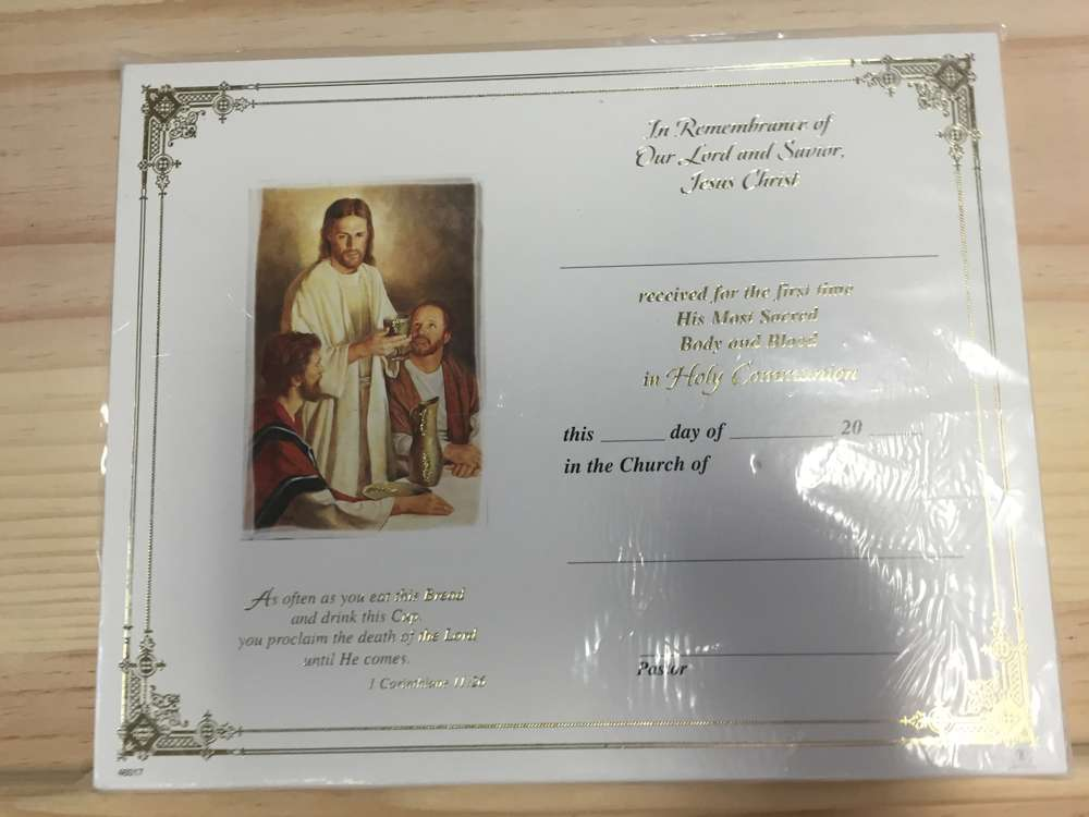First Communion Certificates, Pack of 100