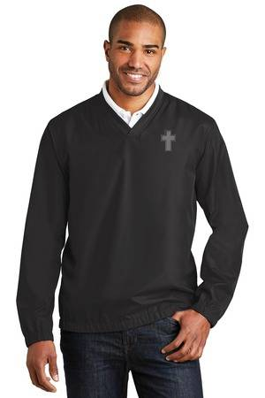 Clergy V-Neck Golf Windbreaker, Black priest apparel, priest pullover, priest shirt, clergy apparel, clergy golf shirt