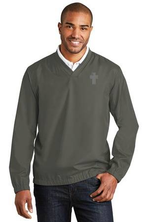 Clergy V-Neck Golf Windbreaker, Steel Grey priest apparel, priest pullover, priest shirt, clergy apparel, clergy golf shirt