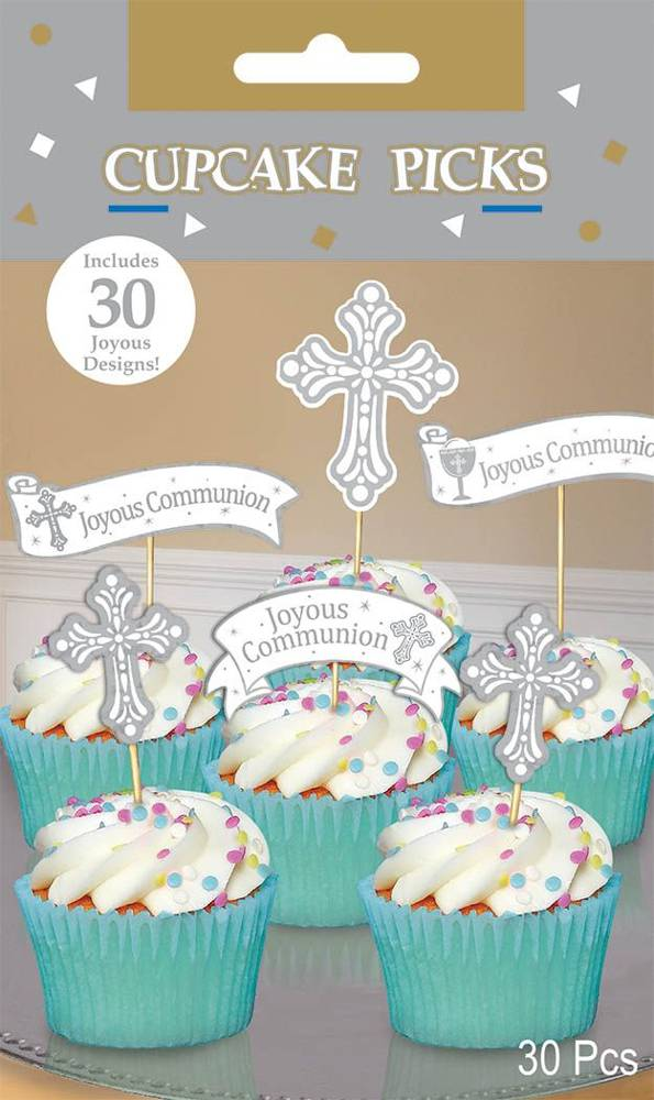 Communion Cupcake Picks 400043,cupcake picks, cupcake decor, dessert, first communion, party supplies, party toppers,