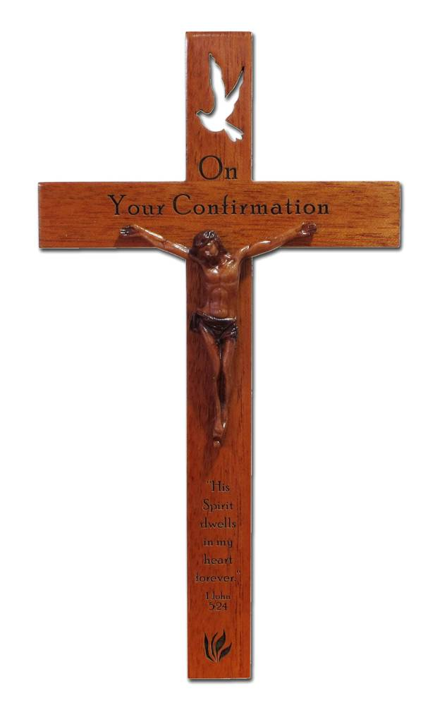 "Confirmation 8"" Mahogany Crucifix wall cross, wall crucifix, confirmation crucifix, gifts of the spirit, wood cross, dove, sacramental crucifix, mahogany cross, CXG1414CC"