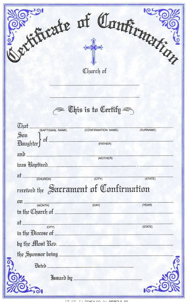 Confirmation Certificate certificate, church goods, sacramental certificates, baptism, first communion, confirmation, marriage, death,