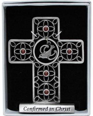 Confirmation Standing Cross with Crystals wall cross, wall crucifix, confirmation cross, holy spirit cross, confirmation gift, sacrametnal gift, RCIA gift. sponsor wall cross, sponsor gift