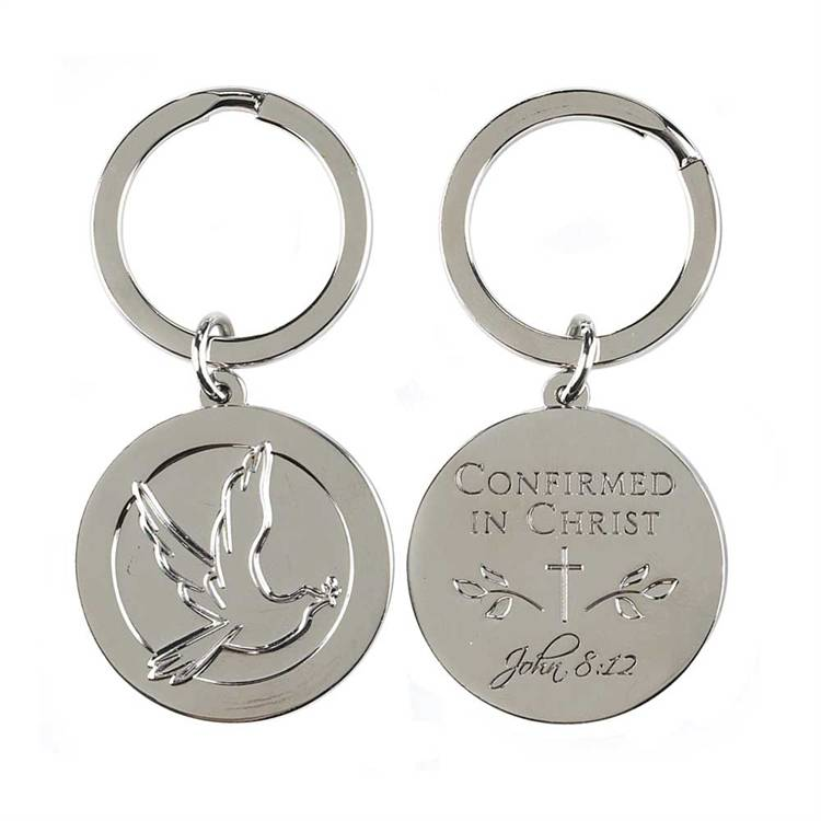Confirmed In Christ Keyring confirmation gift, confirmatin keyring, dove key ring, round key ring, silver key ring, key chain, sacramental gift, girl gift, boy gift, KC-391