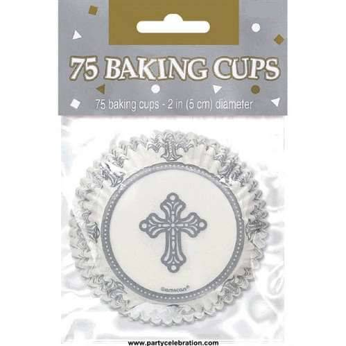 Cross Cupcake Baking Cups 140028,cupcake, party supplies, baking cups, paper products, first communion party product, cross baking cups, cross cupcakes, 140028