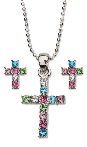 Cross Earrings and Necklace Jewelry Set jewelry set, cz necklace, cz earrings, sacramental gift, gift set, colored jewelry, 45580