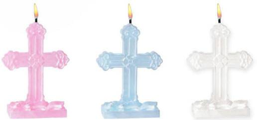 Cross Molded Candles party candles, cross candles, pink cross candle, white cross candle, blue cross candle, first communion candle, sacramental candle, confirmatin candle, partyware, paper product, sacramental party supplies, first communion partyware,boy partyware, girl partyware