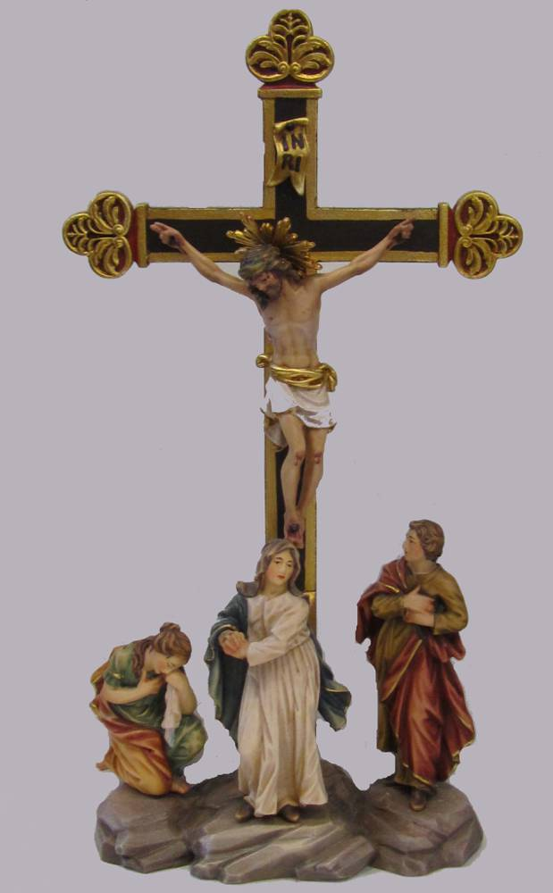 Crucifixion Group solid wood statue, hand carved statue, italian made state, maple wood statue, home decor, church decor, colored statue, crucifixion statue, jesus statue, 9170/12