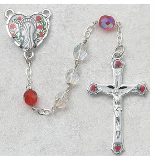 Crystal and Ruby Aurora Borealis Rosary rosary, glass bead, pewter center, pewter crucifix, 7mm beads, sacramental rosary, rosary gift, ,589D-DR/F, aurora borialis, special occasion gift,