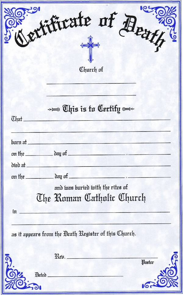 Death Certificate certificate, church goods, sacramental certificates, baptism, first communion, confirmation, marriage, death,