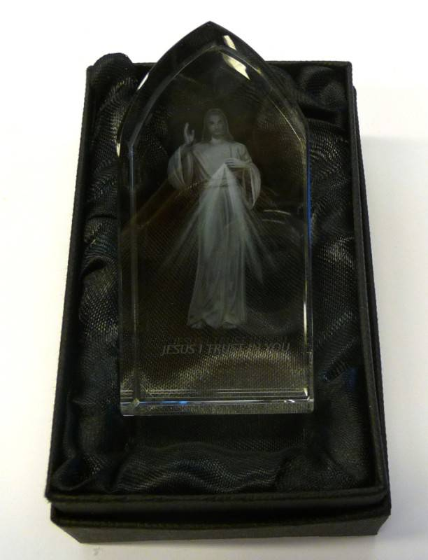 "Divine Mercy Etched Glass year of mercy, jesus statue, divine mercy statue, home decor, church decor, 3"", etched glass, glass decor, jc-4414"