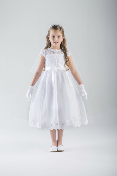 Emma First Communion Dress *WHILE SUPPLIES LAST* first communion dress, girls dress, white dress, special occasion dress, flower girl dress, cap sleeve,C5-352